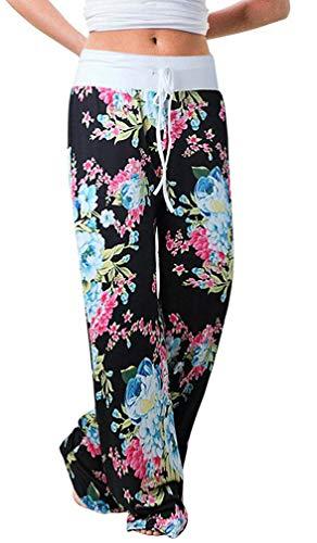 Elsofer Women's Pajama Lounge Pants Floral Print Comfy Casual Stretch Palazzo Drawstring Pj Bottoms Pants Wide Leg (Tag M (US 6), Black4) ()