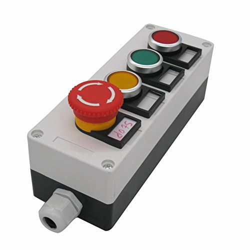 TWTADE/Red Yellow Green Momentary Switch, Red Mushroom Emergency Stop 1NC 1NO Latching Push Button Station Switch Pushbutton Switches 440V 10A (Quality Assurance for 3 Years) hz-11SRYG