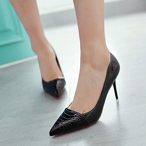 poca con wedding mujer fino versátil cuero Punta zapatos shoes Verde zapatos y de solo de Negro pintado boca zapatos tacón cm 7 de de PZHCYWH