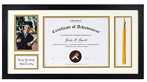 11x22 Black Shadow Box 8.5x11 Diploma, 4x6 Photo - Tassel Holder - Ivory Over Gold Double Mat - Graduation Theme - Sawtooth Hangers - Wall Mounting - Landscape Portrait - Real Glass - Frame -