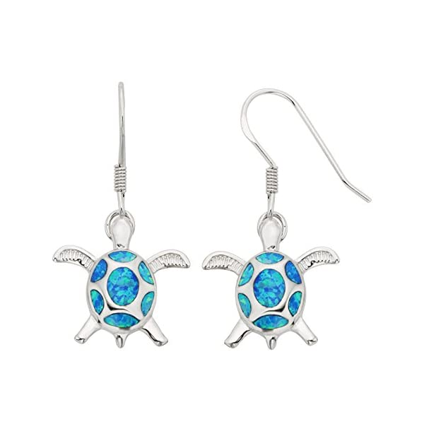 Sterling Silver, Gold Tone or Rose Tone Created Blue, White or Pink Opal Turtle Dangle Earrings