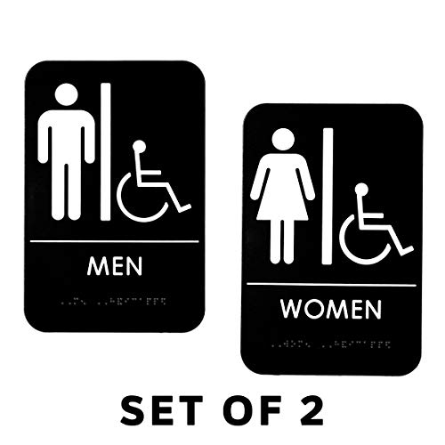 (Alpine Industries Men's & Women's Restroom Signs, Set of 2 - Durable Self Adhesive Back & White Handicapped Bathroom Door Sign/Placard w/Braille Lettering for Business Office & Restaurant)