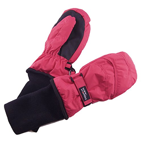SnowStoppers Kid's Nylon Waterproof Snow Colorful Mittens (Fuchsia, Large)