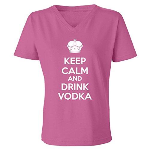 Tasty Threads Keep Calm And Drink Vodka Women's V-Neck T-Shirt (Raspberry, 3XL) (Vodka Drink Raspberry)
