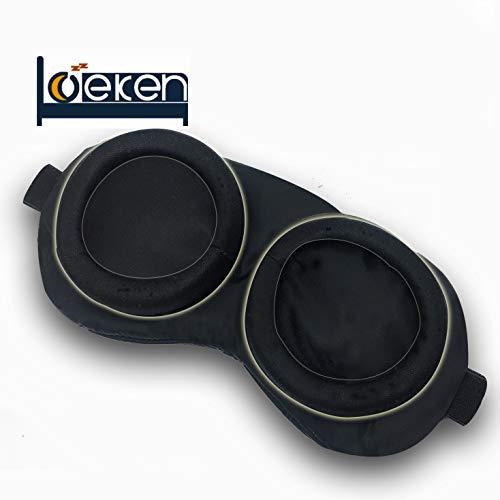 3D Modular Eye mask for Sleeping, Breathable Memory Foam Contoured,Best Travel Sleep mask for Women ... (Black)