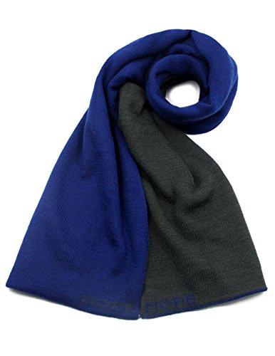Reversible Acrylic - Dahlia Acrylic Long Scarf - Reversible Dual Color - Blue/Gray