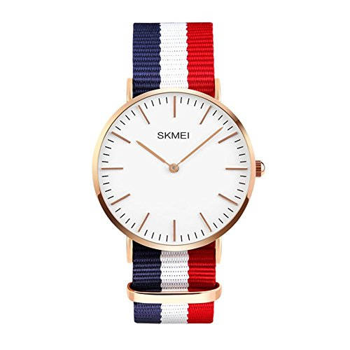 l Classic Quartz Analog Business Wrist Watch with Thin Dial, Replaceable Multi-Color Striped Nylon Band ()