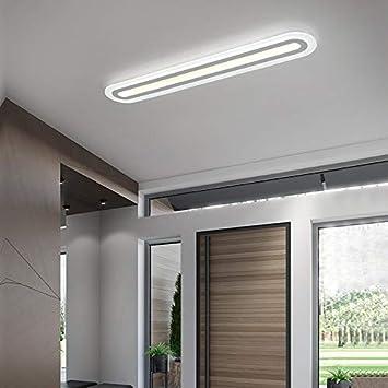 XLLX Forma Oval Calidad Techo de la lámpara LED ultradelgado de Techo Integrado luz Decorativa Ligera Estructura de Aluminio de acrílico Pantalla Regulable Tres de luz de Color for e: Amazon.es: Hogar