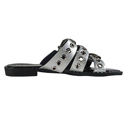 Schuhtraum Sandalen Damen Riemchen Schnallen Sandaletten Pantoletten Clogs Nieten PG102 Silber