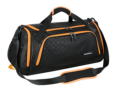 Sports Duffel Bag Gym Bag Travel Duffle for Men and Women with Shoes Compartment - Mouteenoo (One Size, Black/Orange) from Mouteenoo