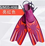 ESFSWFT Adjustable Soft Swimming Fins One Pair Diving Necessity Webbed Feet Bright red S/M