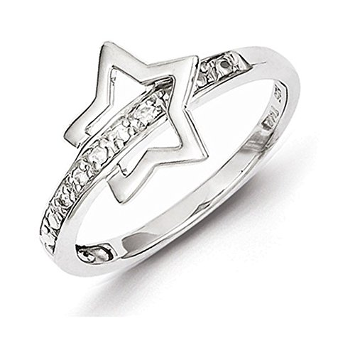 Sterling Silver Rhodium Plated Diamond Star Ring Size - Rhodium Star Diamond
