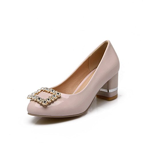 BalaMasa Girls Slip-On Low-Heels Solid Patent Leather Pumps-Shoes Pink MUmrzyjP0