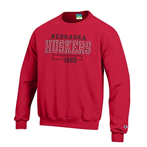 Champion NCAA Men's Long Sleeve Eco Powerblend Sweatshirt Unisex Officially Licensed Crewneck Fleece Nebraska Cornhuskers Large