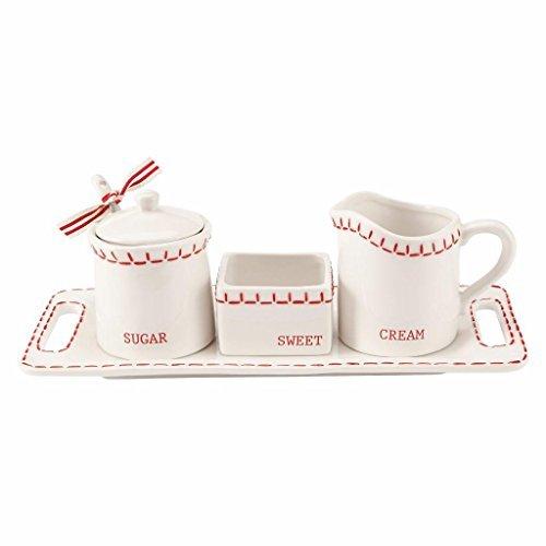 Cream Sugar Tray Set - Mud Pie Deck The Halls 5-Piece Cream & Sugar Set White Red Stitching