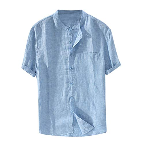Pique 1 Light - Cotton Linen Tops for Men Baggy Cotton Linen Solid Color Short Sleeve Button Down Retro T Shirts Tops Blouse Light Blue