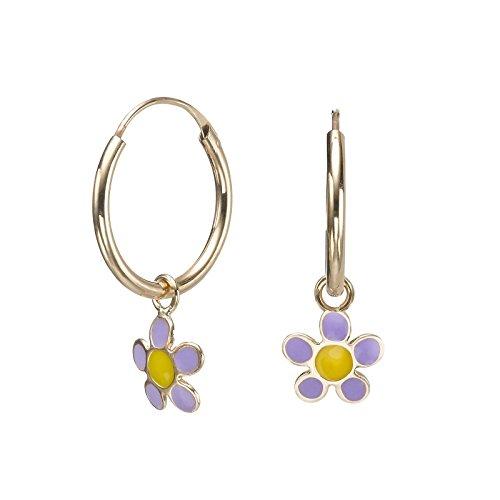 14k Solid Yellow Gold Hoop - 14K Solid Yellow Gold Hoop Charm Earrings Salina Flower Kids Child Girls Teen Children Gift Baby