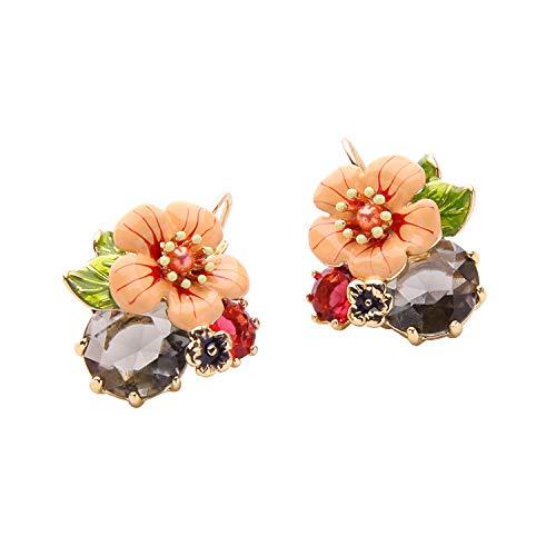 Black Earrings Drop Flower Crystal Dangle Earrings For Women Made with Swarovski ()