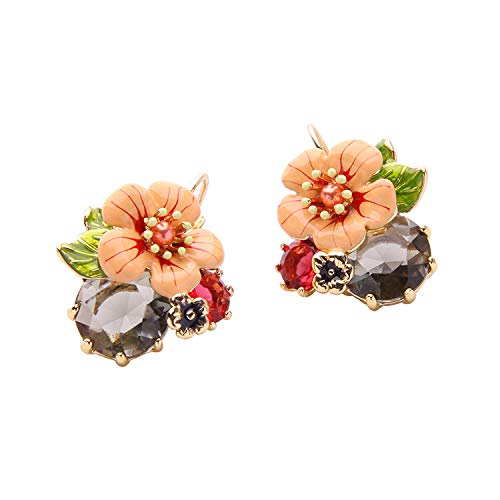 (Black Earrings Drop Flower Crystal Dangle Earrings For Women Made with Swarovski Crystals)