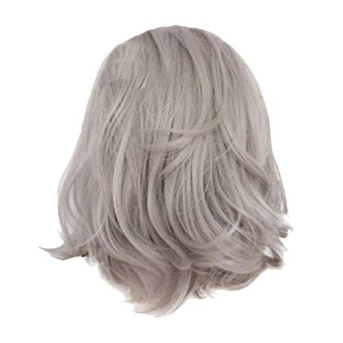 (Iusun Curly Wigs,16'' Gray Natural Looking Women's Short Wavy Rose Inner Net Resistant Synthetic Extensions Cosplay Costume Daily Party Anime Hair Full Wig High Temperature Fiber (Gray))