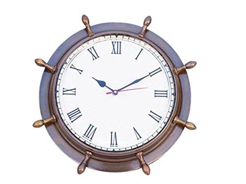 "Hampton Nautical Antique Brass Ship Wheel Clock, 15"""
