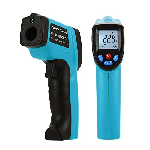 TOPONE GM550 Digital Infrared Thermometer,Professional Non-Contact Laser Temperature Tester Gun Measuring Range -50 to 550°C(-58 to 1022°F)with LCD Display 2pcs AAA Battery Included Blue