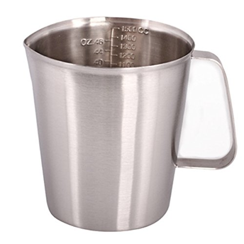 Sissiangle 18/10 Stainless Steel Measuring Cup,Frothing Pitcher with Marking with Handle for Milk Froth, Latte Art (48OZ/1.5 Liter)