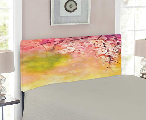 Cherry Twin Headboard Size (Ambesonne Nature Headboard for Twin Size Bed, Japanese Cherry Sakura Floral Artwork in Soft Color Over Blurred Background, Upholstered Metal Headboard for Bedroom Decor, Pink Green Yellow)