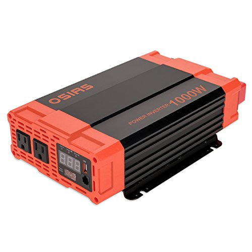 OSIAS 1000W Power Inverter 12V DC to 110V AC Car Converter 2 AC Outlets 2.1A USB Inverter