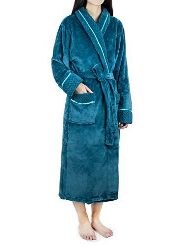 - Deluxe Women Fleece Robe with Satin Trim | Luxurious Plush Spa Bathrobe Waffle Design Sea Blue