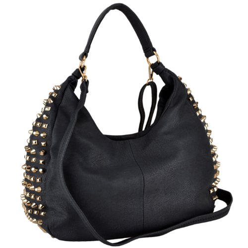 MG Collection Narcissa Oversized Gothic Studded Shopper Hobo Shoulder Bag, Black, One Size (Stud Hobo Purse)