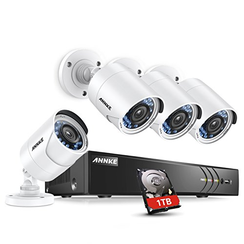 a System 8-channel 1080P HD-TVI H.264+ Realtime DVR and (4) 2.0MP High-Resolution Outdoor Security Cameras with Motion-Triggered Email Alert ,1TB Surveillance Hard Disk Drive ()