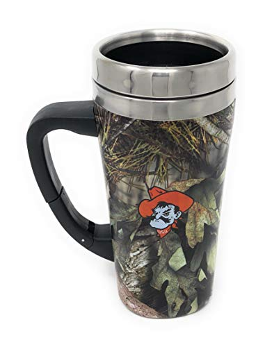 (Oklahoma State Cowboys Pistol Pete Mossy Oak Stainless Steel Thermal Travel 16 Ounce Mug with Belt Clip Adjustable Handle Screw On Lid)