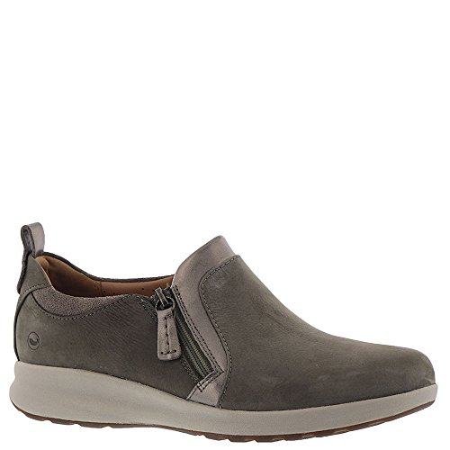 CLARKS Un Adorn Zip Women's Slip On Taupe Nubuck/Suede Combination