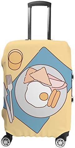 スーツケースカバー 朝ごはん 伸縮素材 キャリーバッグ お荷物カバ 保護 傷や汚れから守る ジッパー 水洗える 旅行 出張 S/M/L/XLサイズ