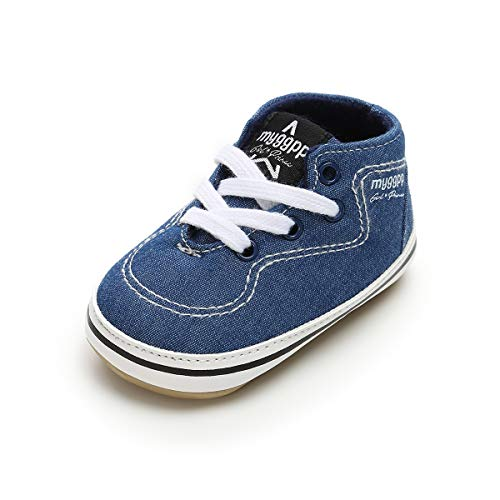 BENHERO Baby Boys Girls Canvas Toddler Sneaker Anti-Slip First Walkers Candy Shoes 0-24 Months 12 Colors (0-6 Months M US Infant), Ee-Jeans