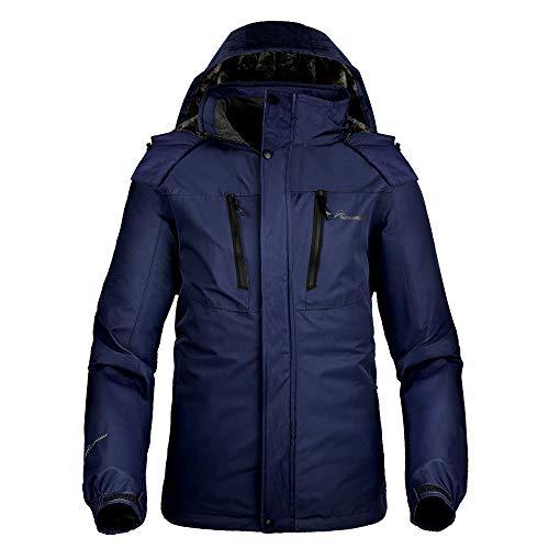 OutdoorMaster Men's Ski Jacket Basic - Winter Jacket with Elastic Powder Skirt & Removable Hood, Waterproof & Windproof (Deep Blue,L)
