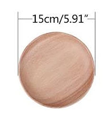 Homespun Pop Wooden Circle Plate 5.91 Inches Split Kitchen Tableware Snack Serving Trays Fruit Round Dish