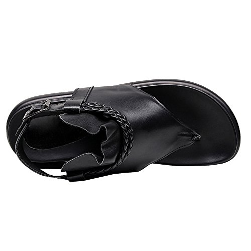 rismart Women's Toe Ring Low Heel Slingback Slide Strappy Wedge Leather Roman Sandals Shoes Black bzoWhen