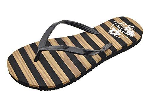 Panama Jack Ladies Teak Stripe Flat Sandal Fashion Flip Flop