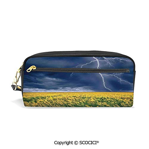 Fasion Pencil Case Big Capacity Pencil Bag Makeup Pen Pouch Lightning Bolt Above The Seasonal Field Electric Vibes Mother Nature Theme Image Durable Students Stationery Pen Holder for School]()