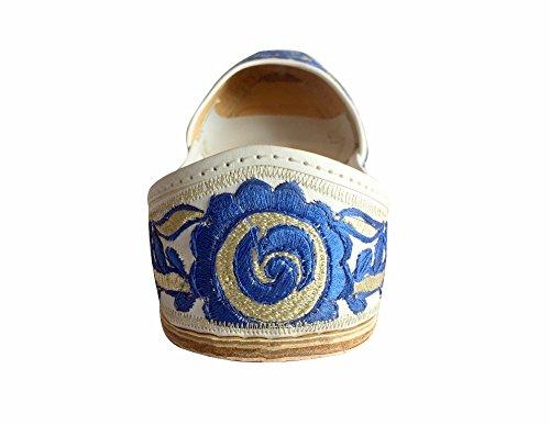 Step n Style Womens Phulkari Punjabi Jutti Khussa Shoes Ethnic Shoes Handmade Tribal Shoes Blue White 43sZJj