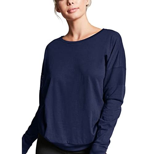 Fihapyli Womens Workout Tee Tops Long Sleeve Yoga Running Gym Sports T-Shirt Stretchy Loose Blouse With Thumb Hole