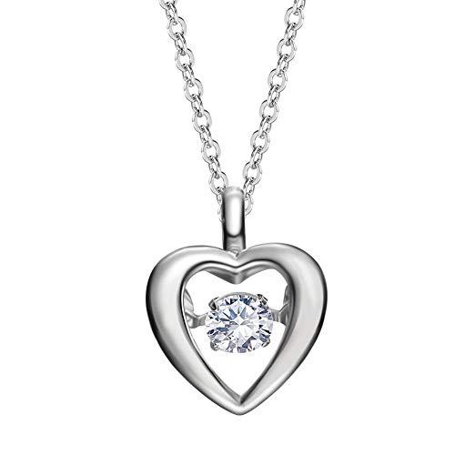 - QMJHL 925 Sterling Silver Necklace, Heart Pendant, Smart Zircon Clavicle Chain, Simple, Flash Diamond Pendant