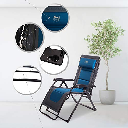 Timber Ridge Zero Gravity Locking Lounge Chair Oversize XL Adjustable Recliner with Headrest for Outdoor Beach Patio Pool Support 350lbs, Blue-Padded