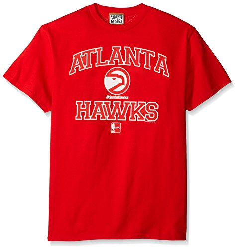 NBA Atlanta Hawks 1972-95 Men's Majestic Athletics Heart and Soul Short Sleeve Crew Neck T-Shirt, Large, Red
