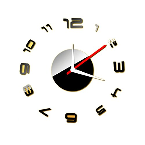Towallmark(TM)Fashion Digital DIY Self Adhesive Interior Wall Creative Decoration Clock (Black)