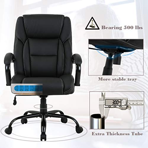 High-Back Big and Tall 500lb Home Office Chair,Ergonomic PU Executive Chair with Lumbar Support Headrest Swivel Chair for Women, Men (Black) by FDW (Image #2)