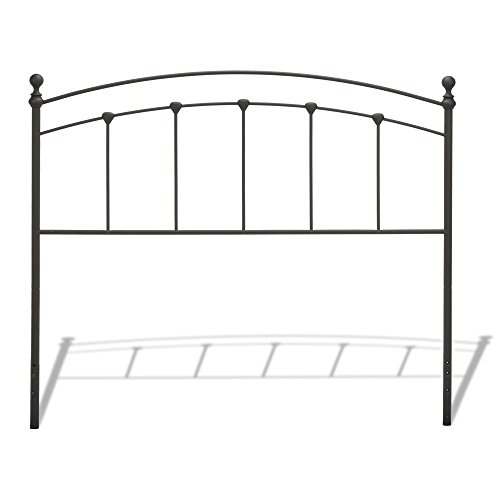 Sanford Metal Headboard with Castings and Round Finial Posts, Matte Black Finish, (Fashion Bed Group Metal Headboard)