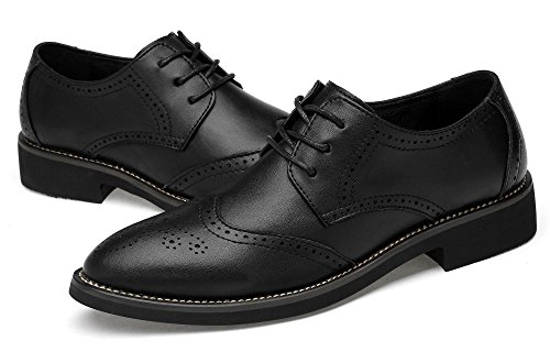 Men's Modern Leather Bullock Shoes Lace-up Oxfords with Hollow Carved Design by KEEPBLANCE